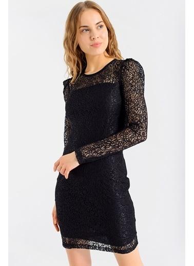 Jument Kadın Astarlı Kapri Kol Dantel Şık Gece Abiye Nişan Elbise-Bordo Siyah